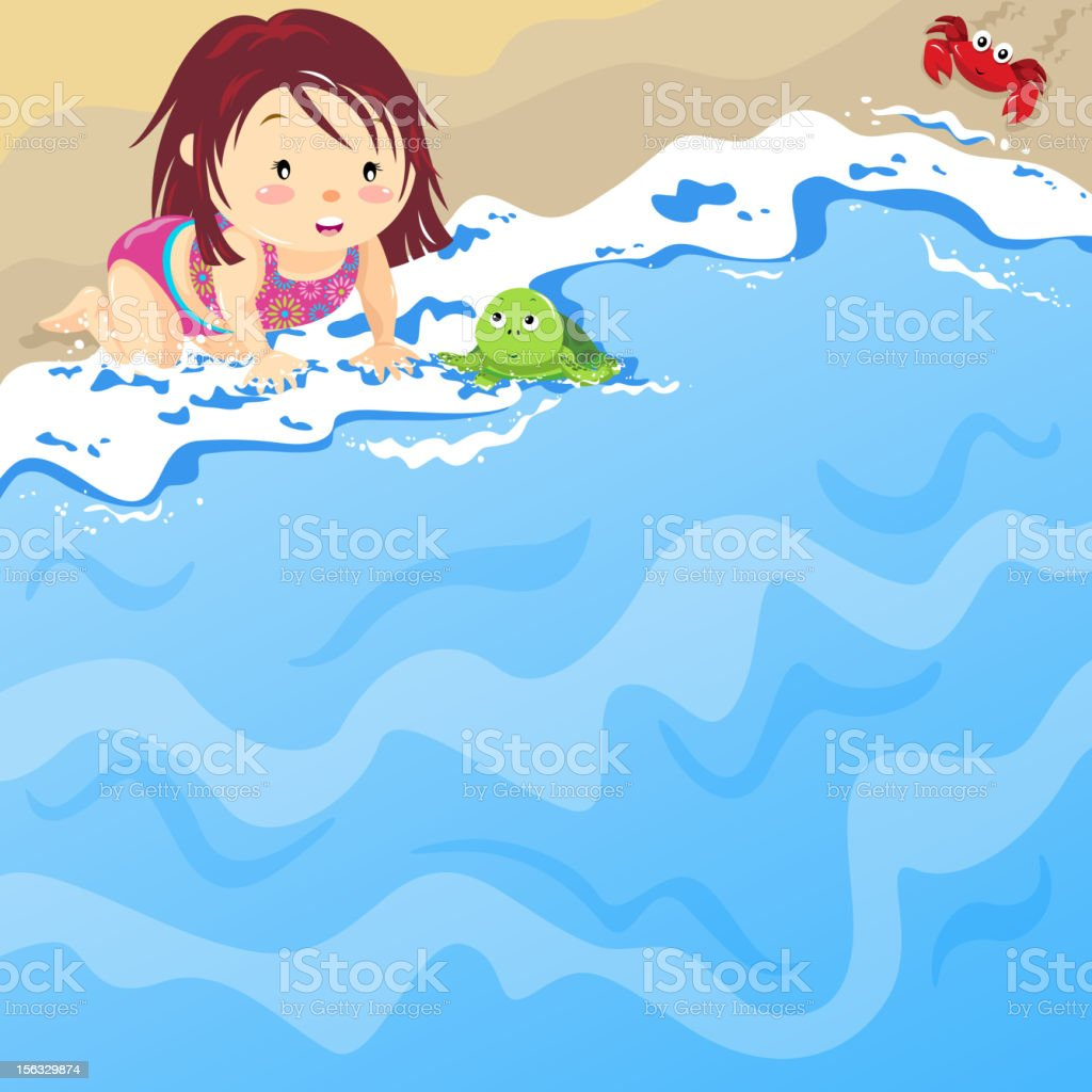 Baby Girl on the Beach with Baby Tortoise vector art illustration