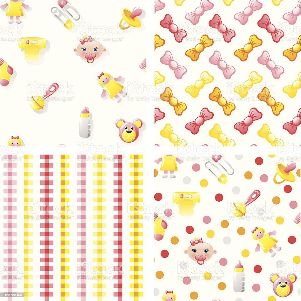 Baby girl patterns vector art illustration
