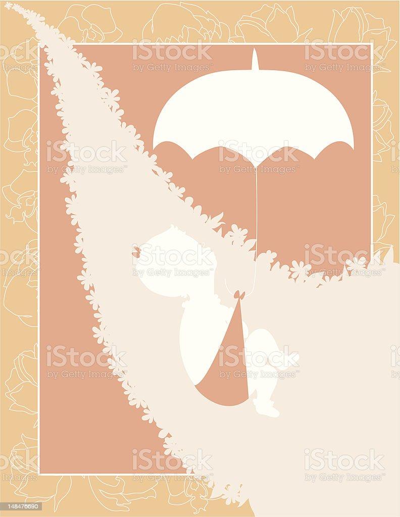 Baby Girl Peach Invitation royalty-free stock vector art