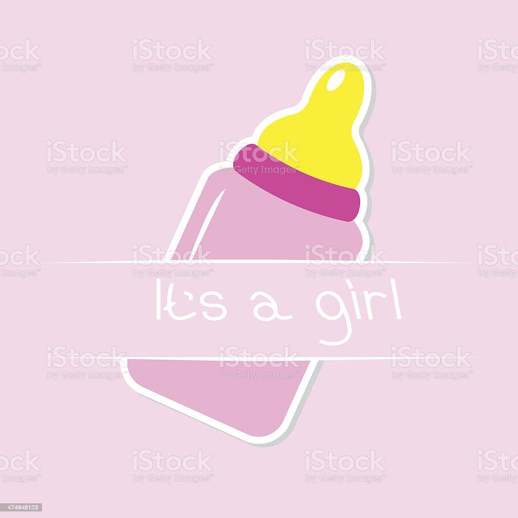 Baby girl pink bottle. Shower card vector art illustration