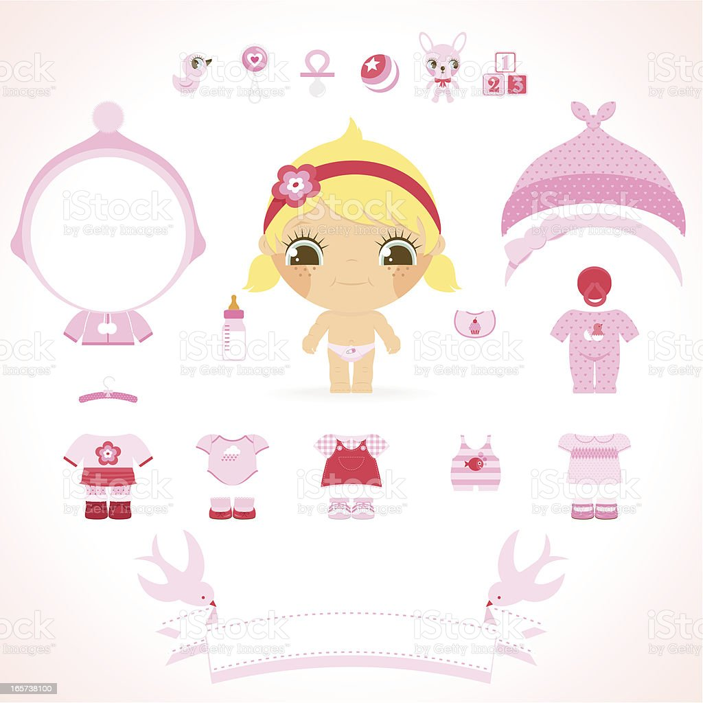 Baby girl set. Pink wear, toys and banner for name royalty-free stock vector art