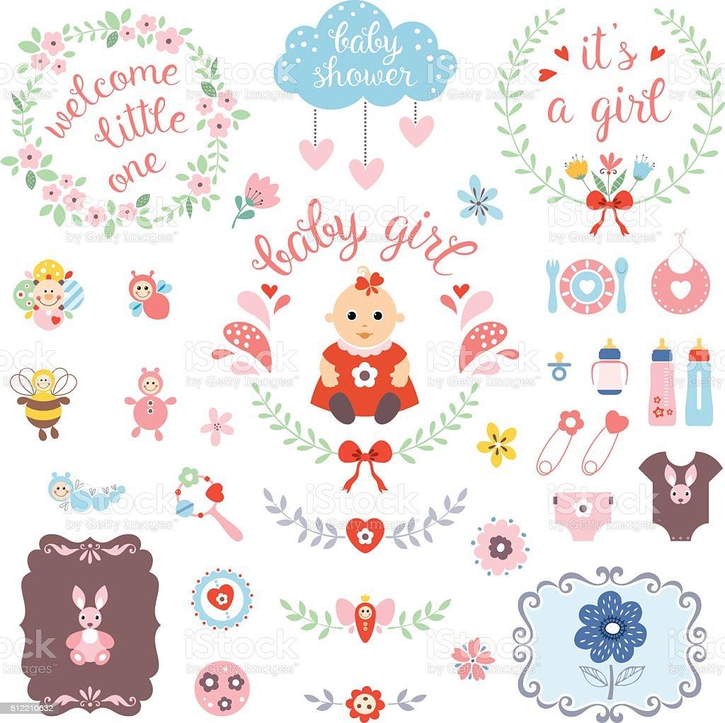 Baby Girl Set vector art illustration