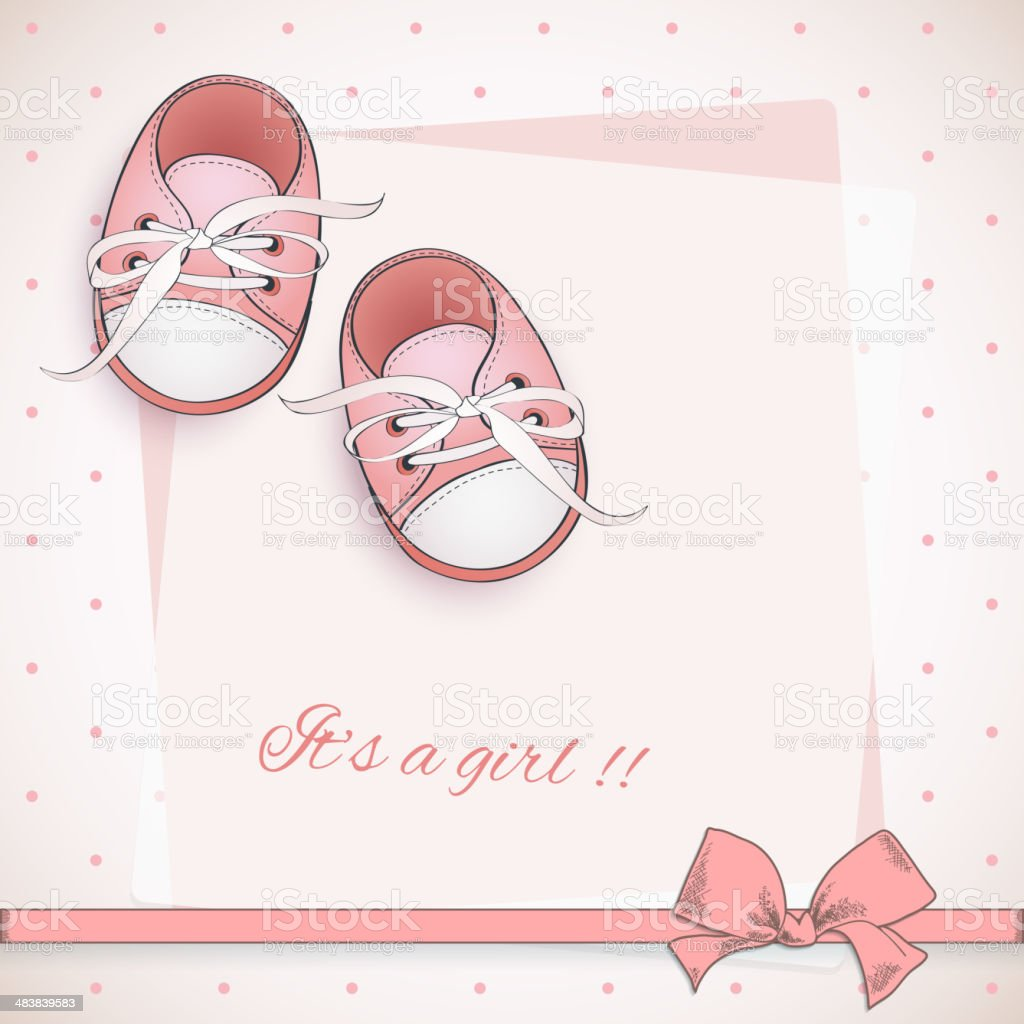 Baby girl shower card. royalty-free stock vector art