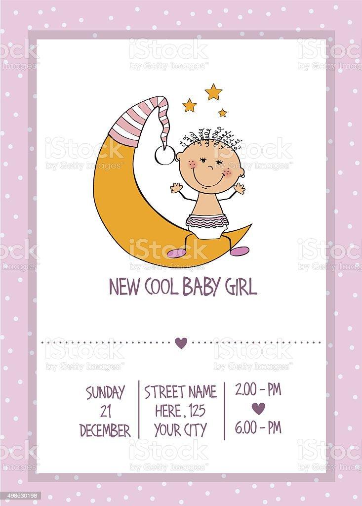 baby girl shower card vector art illustration