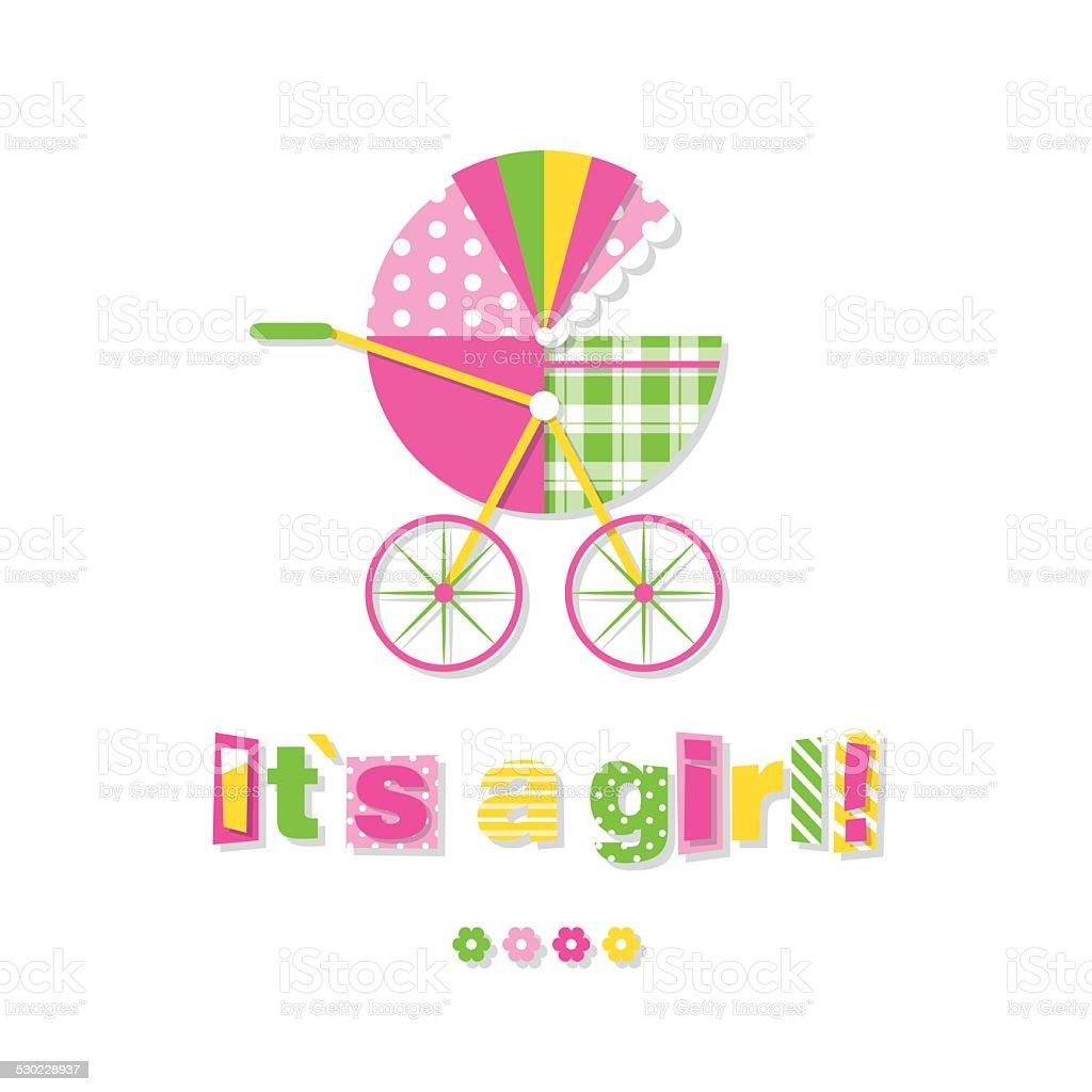 baby girl stroller greeting card vector art illustration