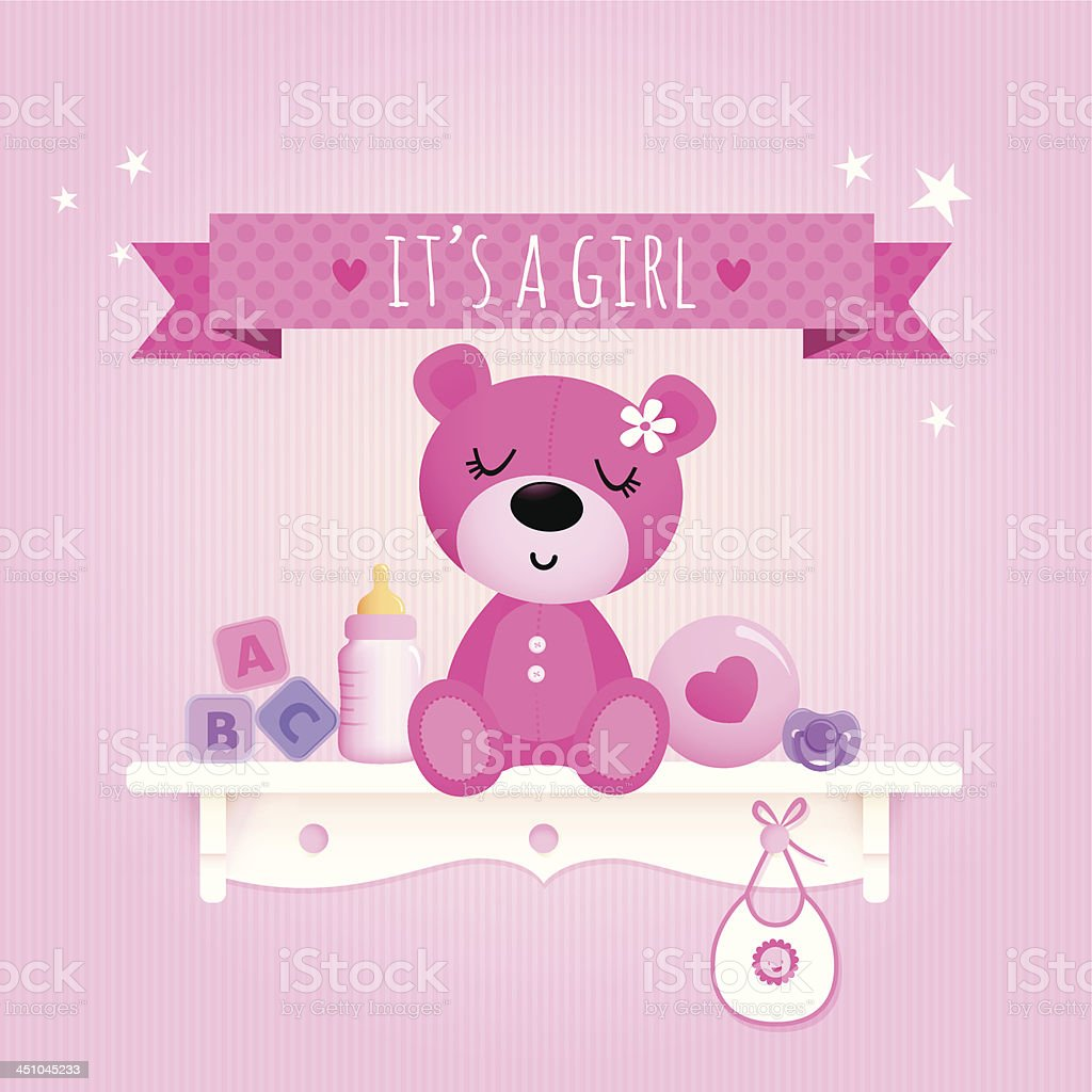 Baby girl teddy vector art illustration
