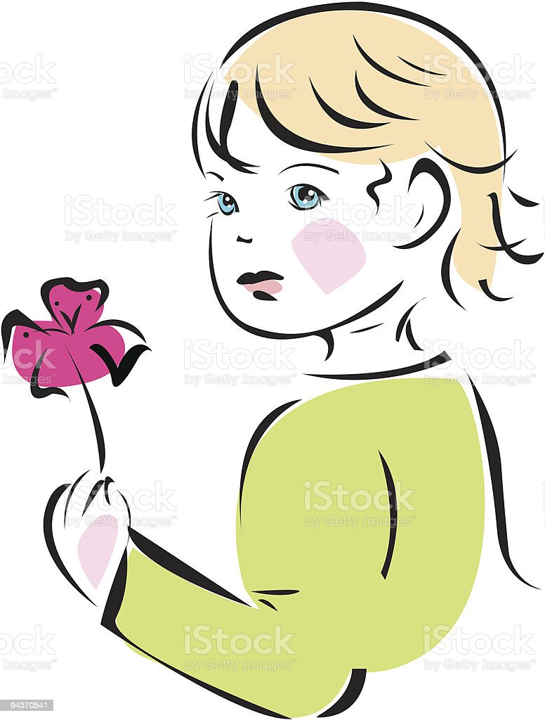 baby girl with flower royalty-free stock vector art