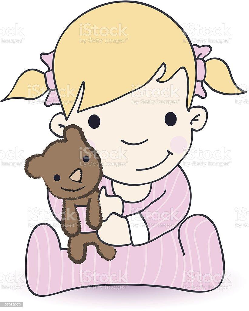 Baby Girl With Teddy Bear royalty-free stock vector art