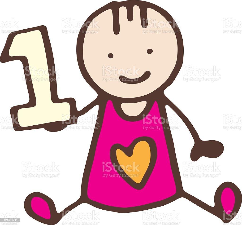Baby girls birthday vector art illustration