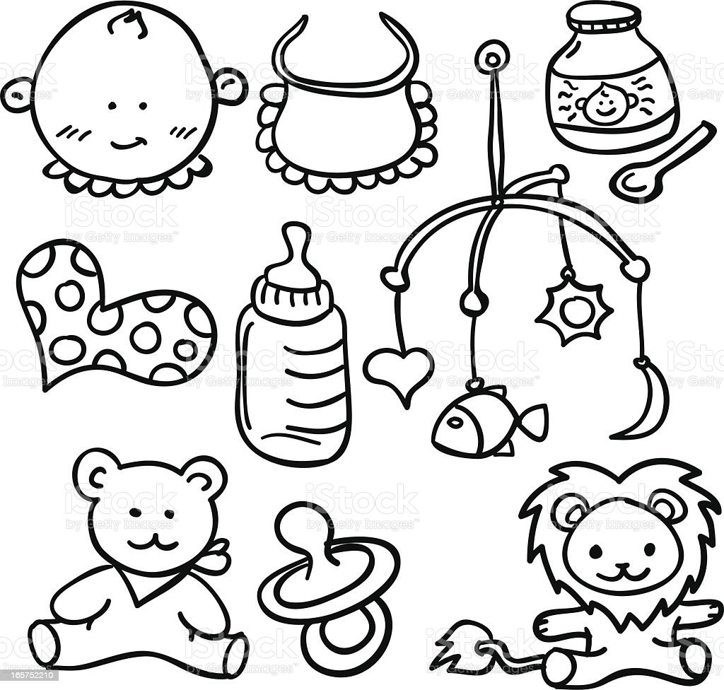 Baby goods collection in black and white royalty-free stock vector art