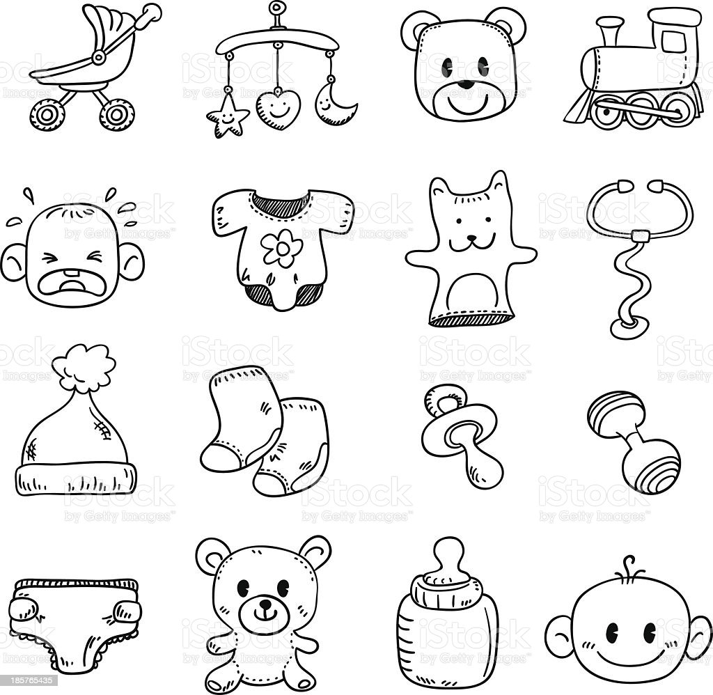 Baby goods in black and white - Illustration vector art illustration