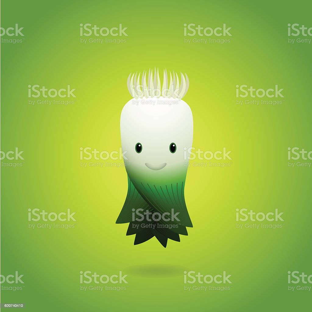 Baby Green Leek Cartoon Character. Vector illustration. vector art illustration