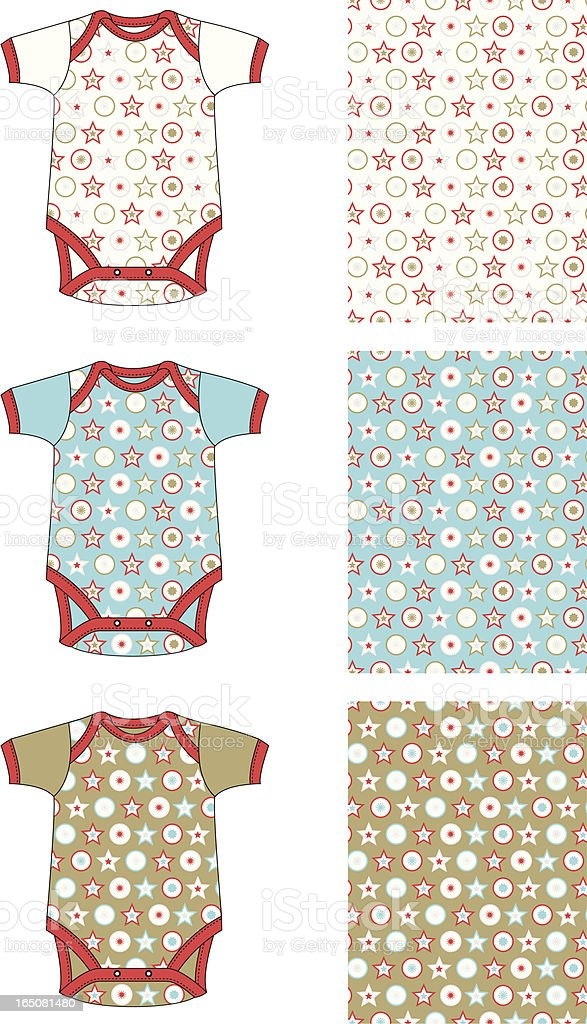 Baby Gro with Christmas Style Stars and Circles Allover Pattern vector art illustration