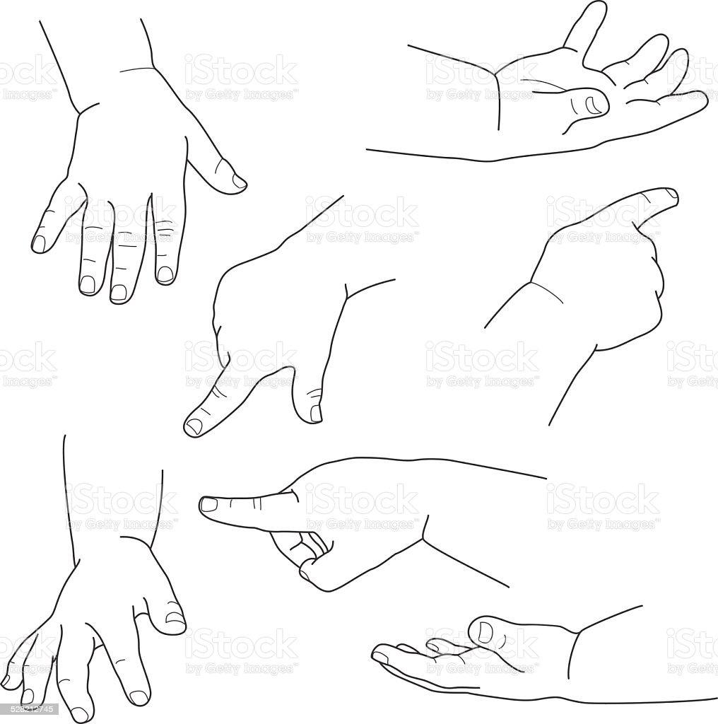 Mão de bebê, diferentes movimentos, Ilustração vetorial vetor e ilustração royalty-free royalty-free