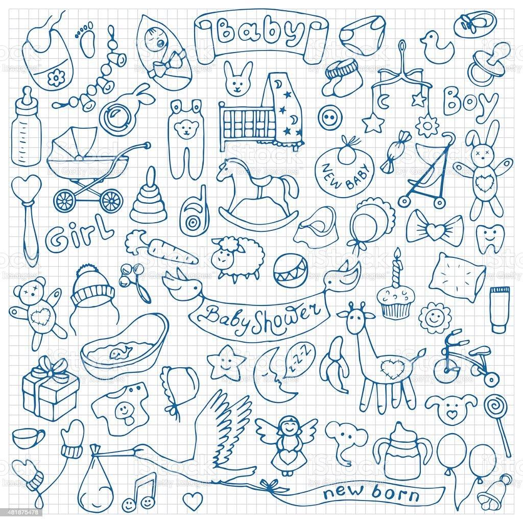 Baby hand drawn doodle set vector art illustration