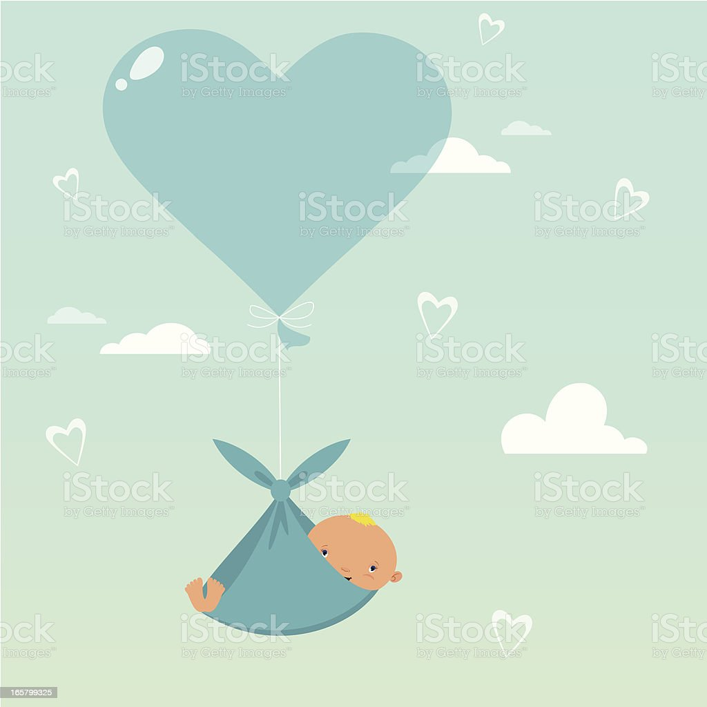 Baby hanging in a sling from a blue heart balloon royalty-free stock vector art