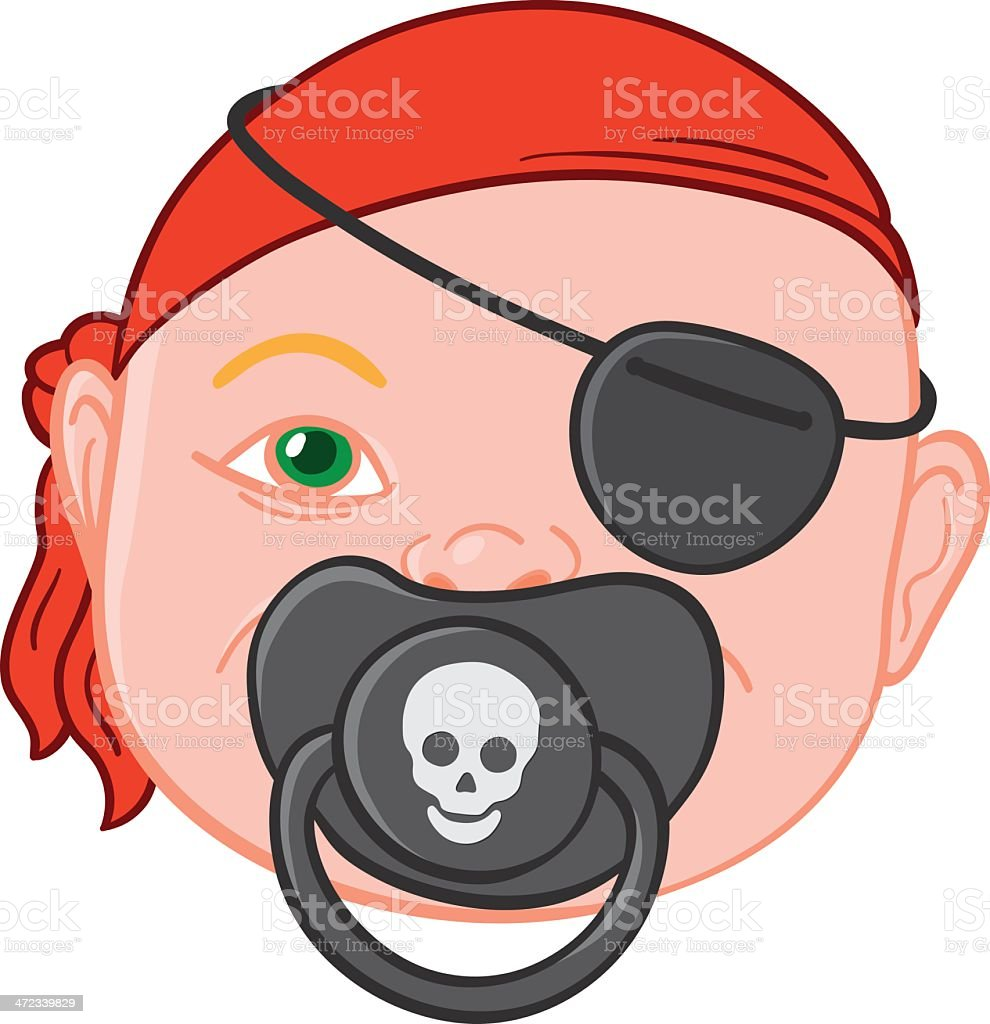 Baby head with pirate pacifier vector art illustration