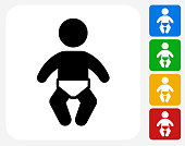 Baby Icon Flat Graphic Design