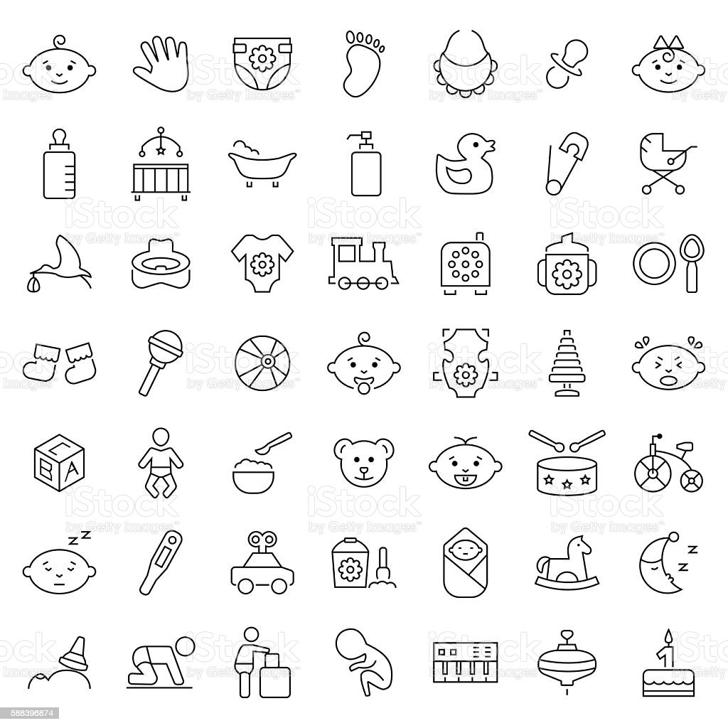 Baby icon set in thin line style. Vector symbols. vector art illustration