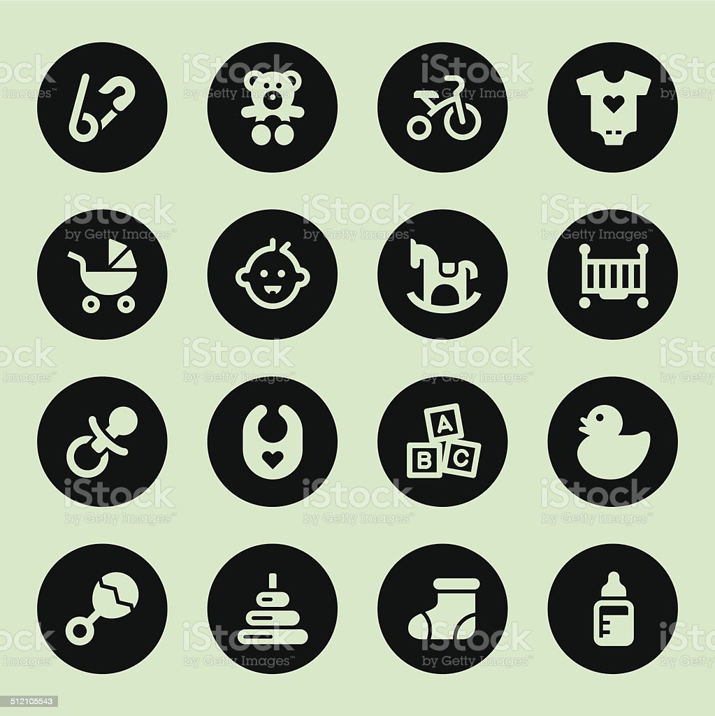 Baby icons - Circle vector art illustration