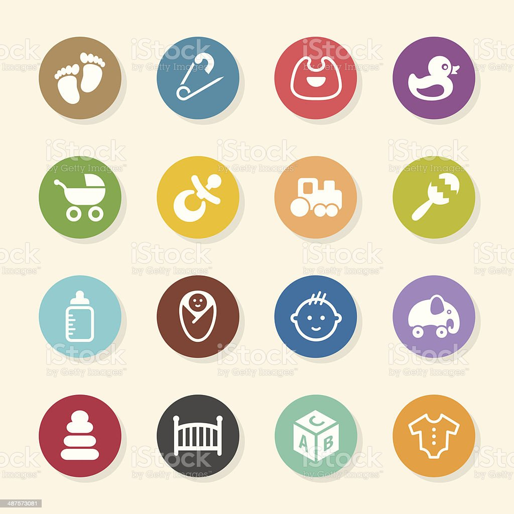 Baby Icons - Color Circle Series vector art illustration