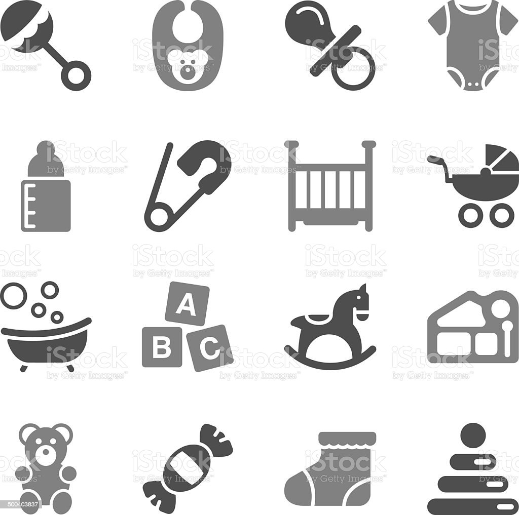 Baby Icons Gray Icons vector art illustration
