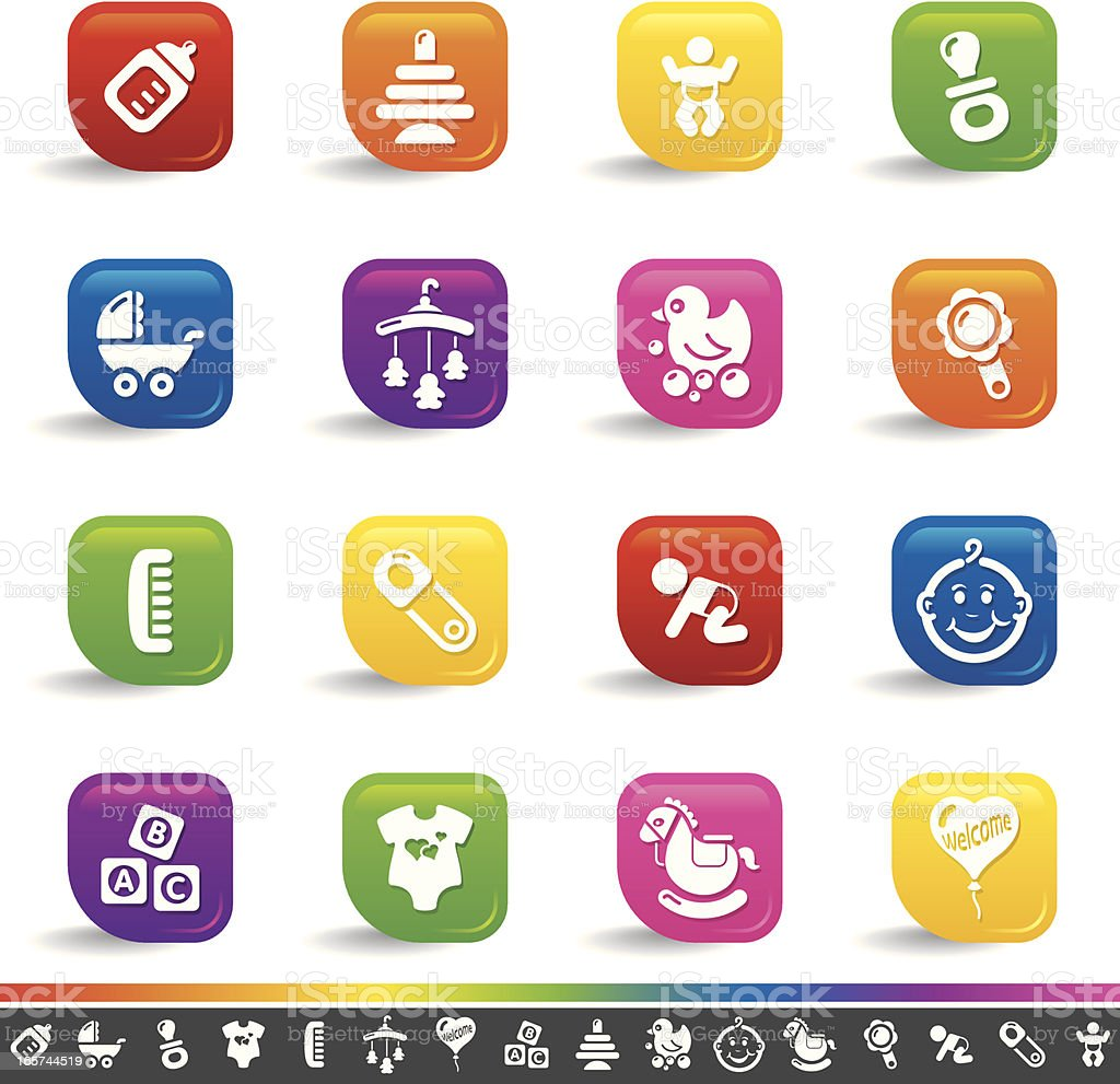 Baby icons | Rainbow Series royalty-free stock vector art