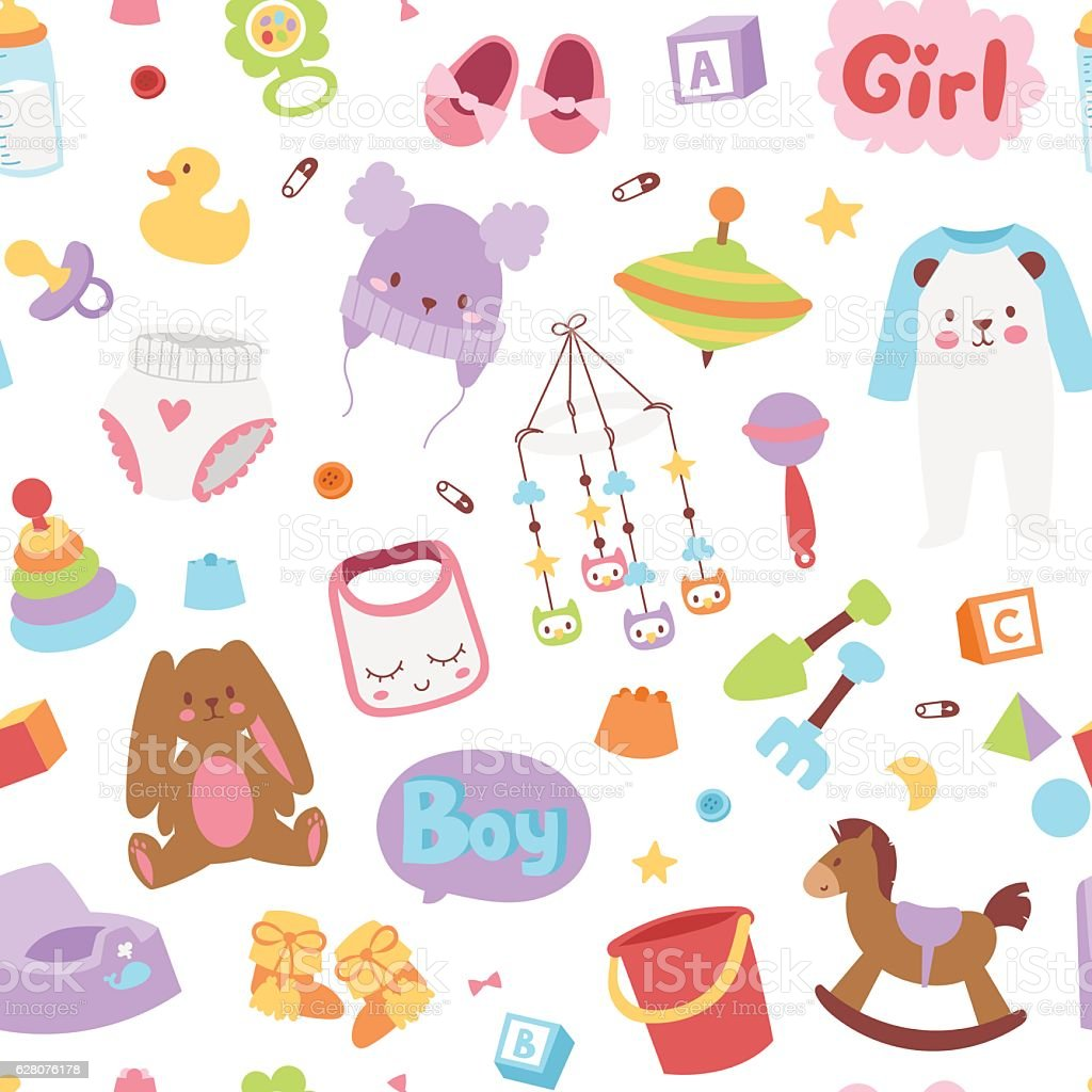 Baby icons seamless pattern vector. vector art illustration