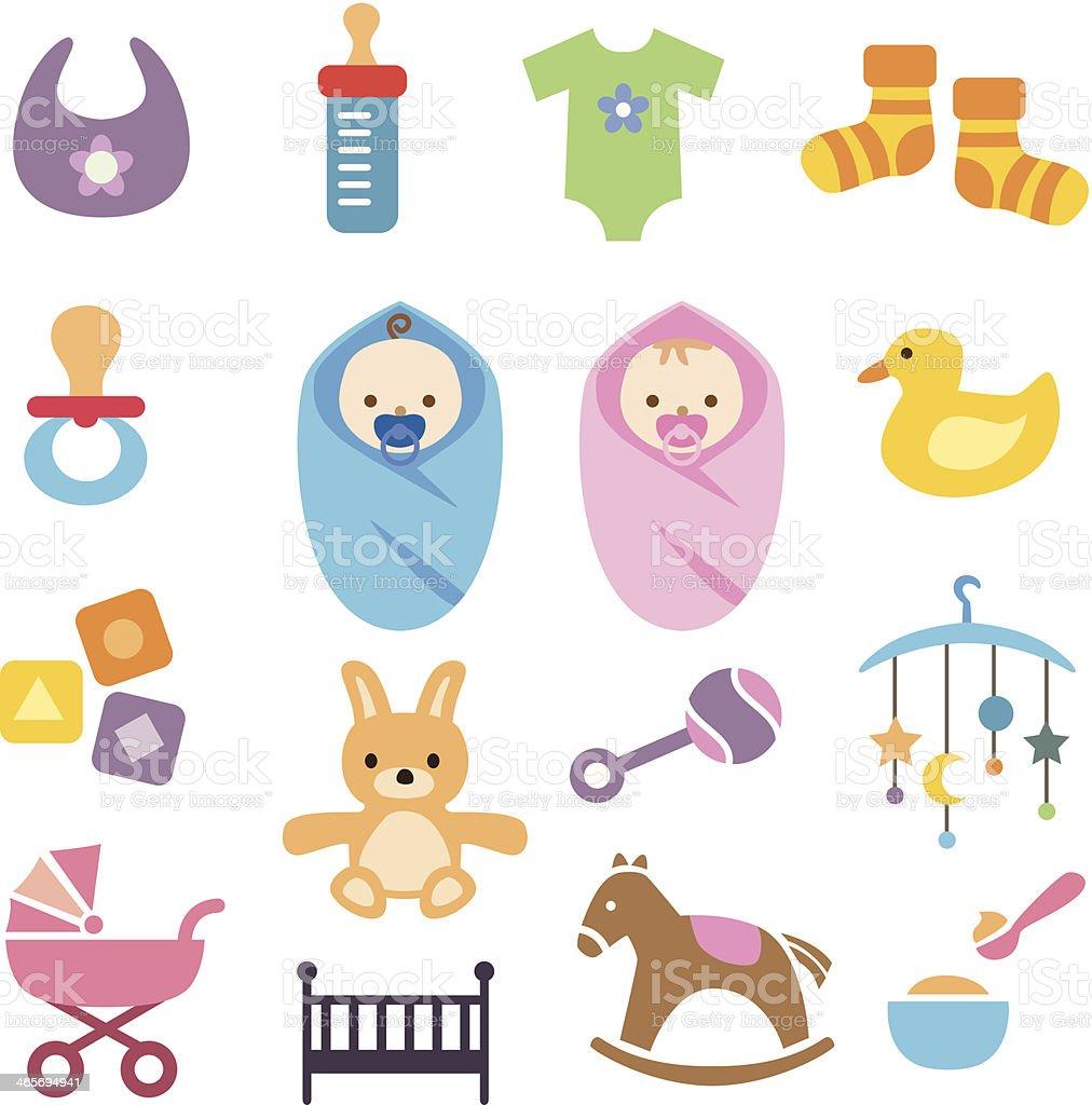 Baby Icons Set vector art illustration