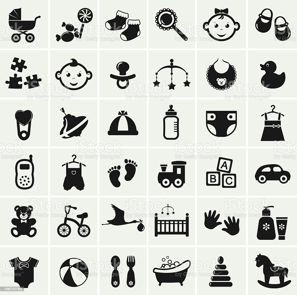 Baby icons set. Vector illustration. vector art illustration