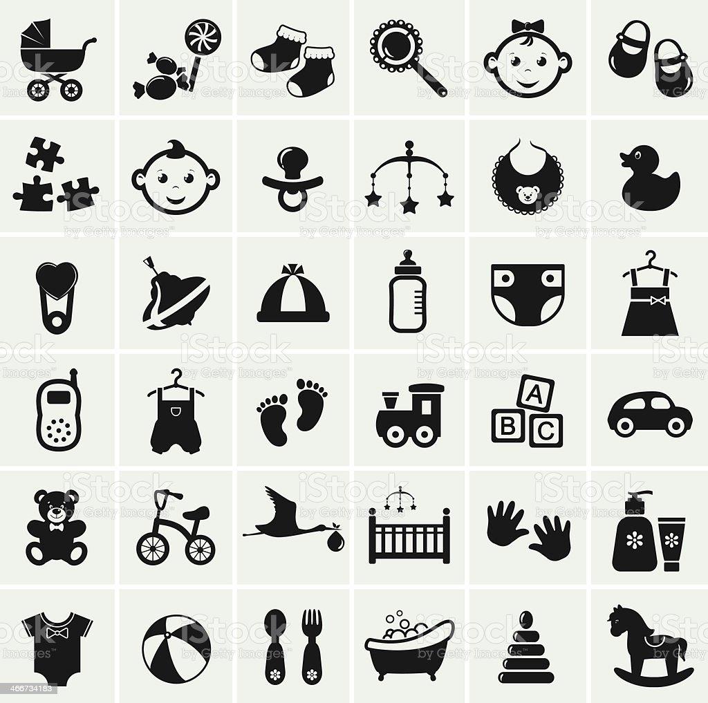 Baby icons set. Vector illustration. vector art illustration