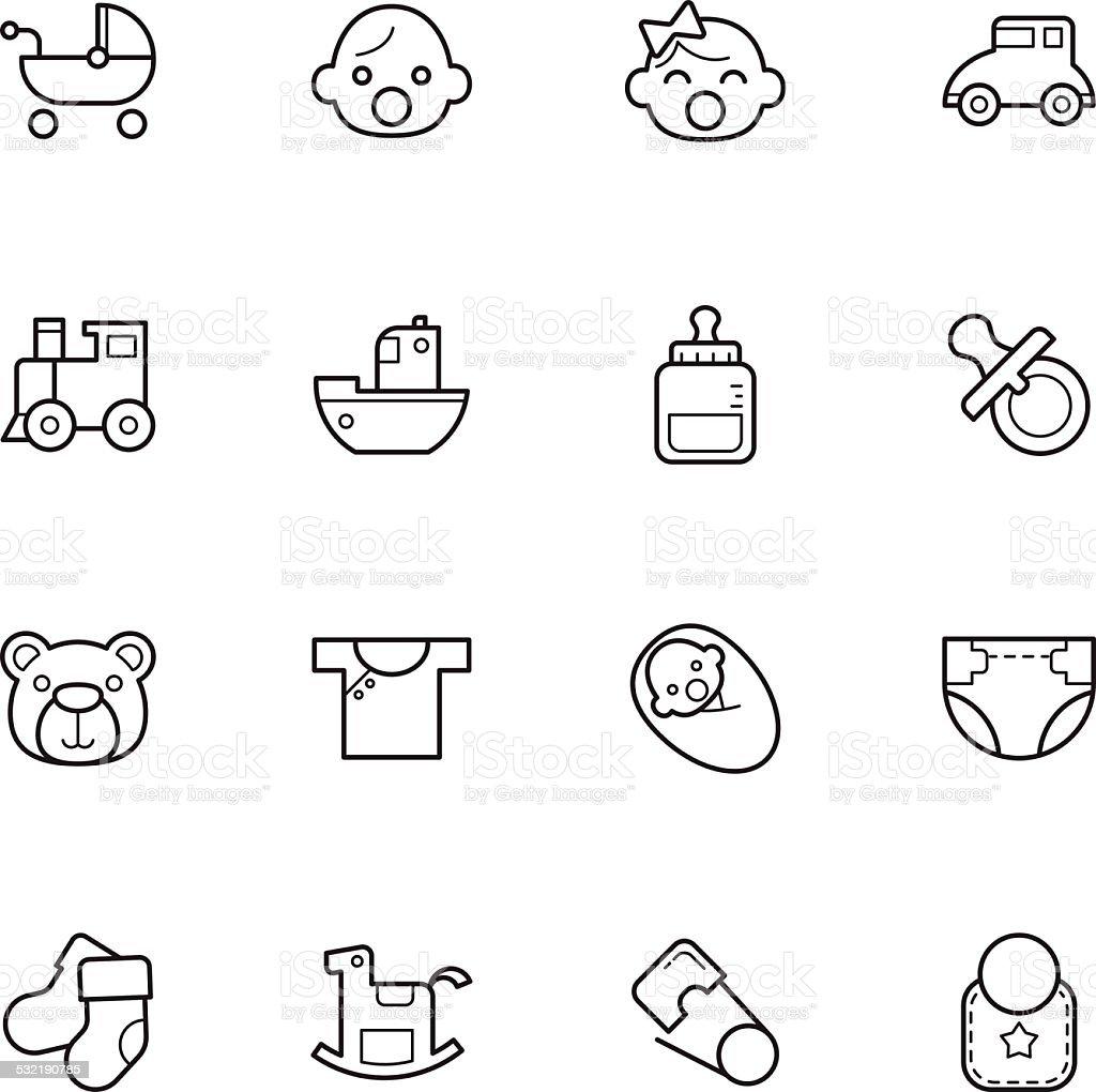 baby icons vector art illustration