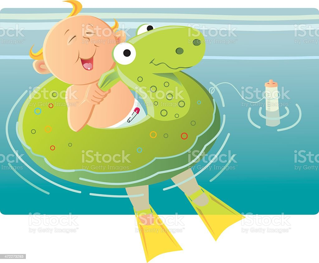 Baby in a swim tube royalty-free stock vector art