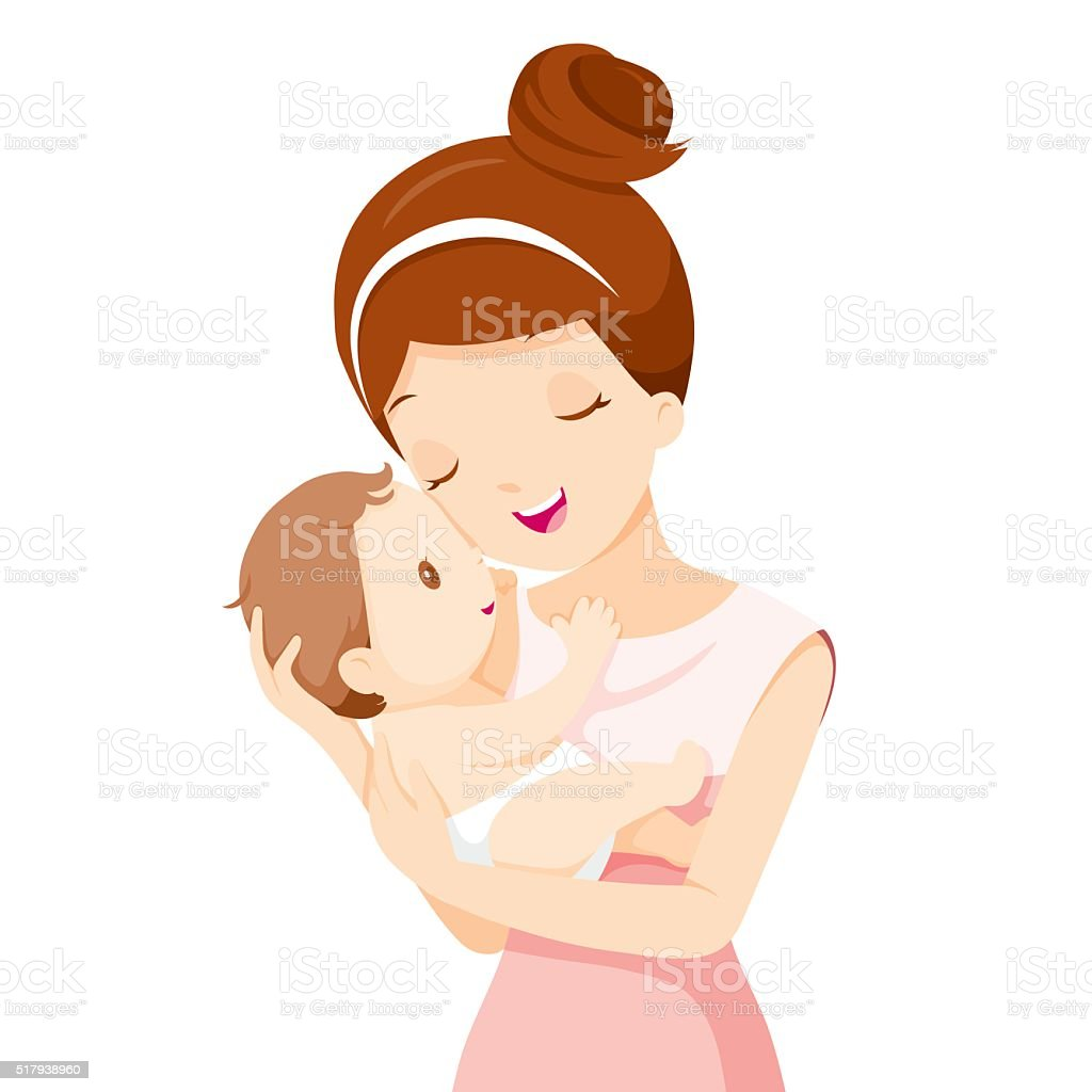 Baby In A Tender Embrace Of Mother vector art illustration