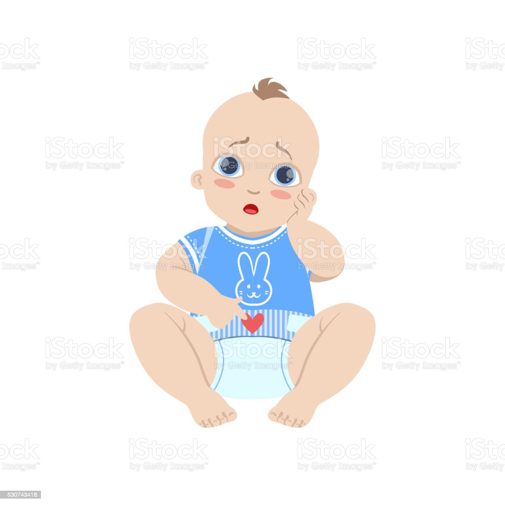 Baby In Blue With Dirty Nappy vector art illustration