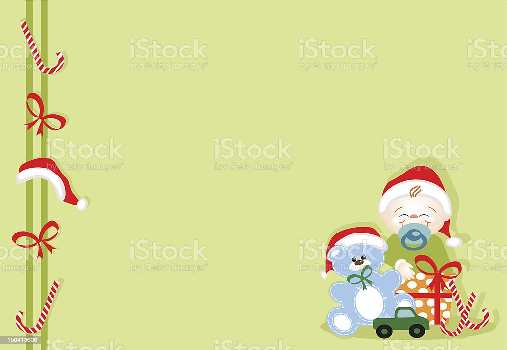 Baby in Christmas vector art illustration