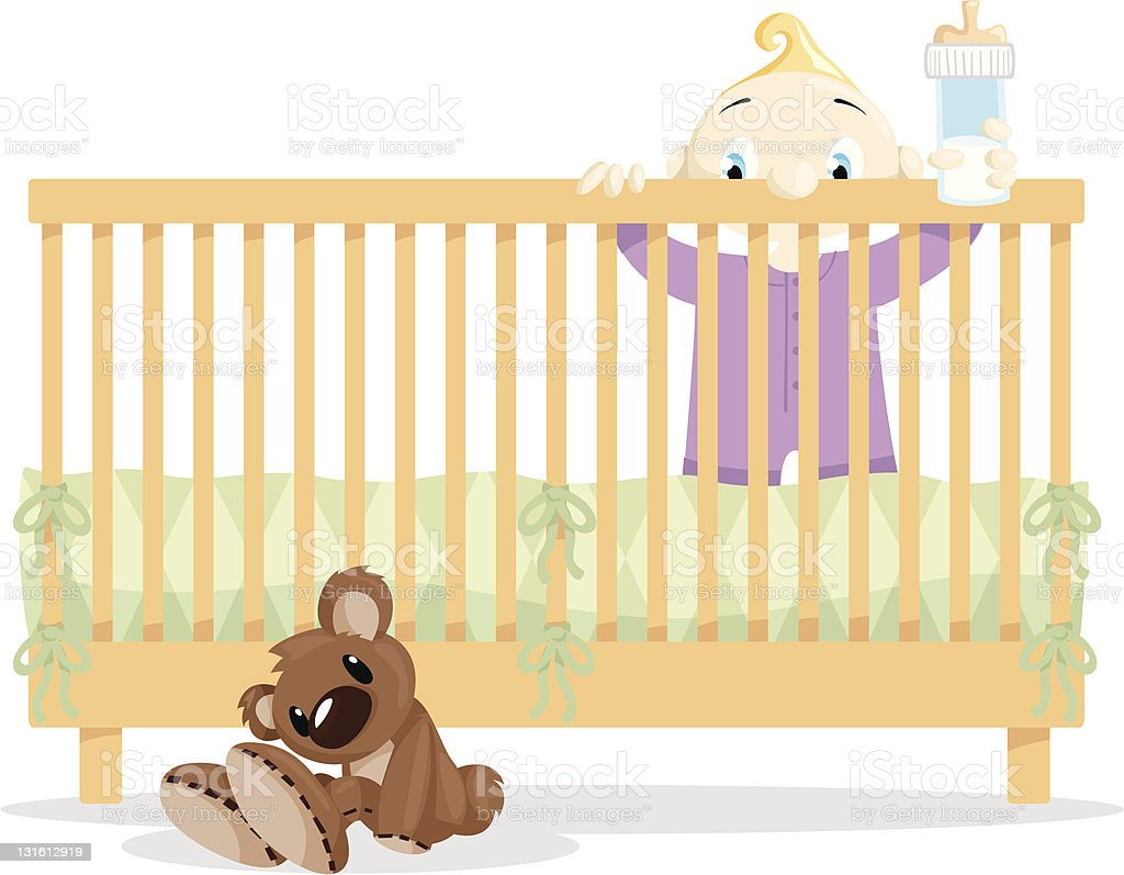 Baby in Crib looking at Teddy Bear royalty-free stock vector art