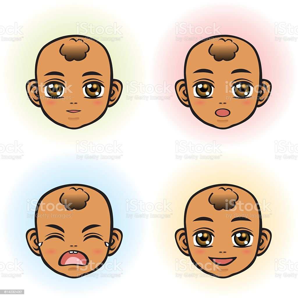 Baby in four Facial Expression (African Ethnicity) vector art illustration