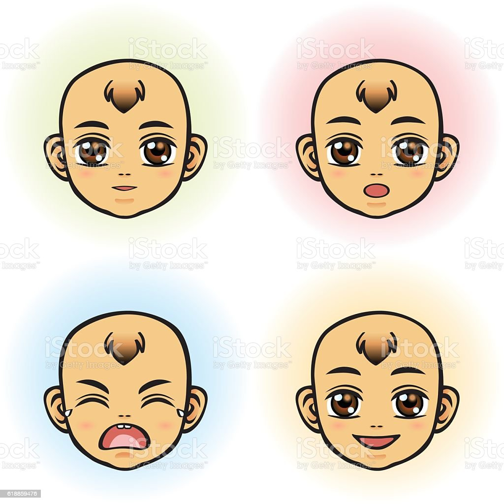 Baby in four Facial Expression (Asian Ethnicity) vector art illustration