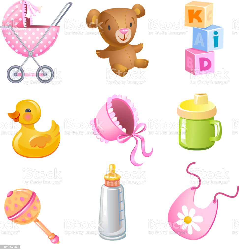 Baby items on white background royalty-free stock vector art