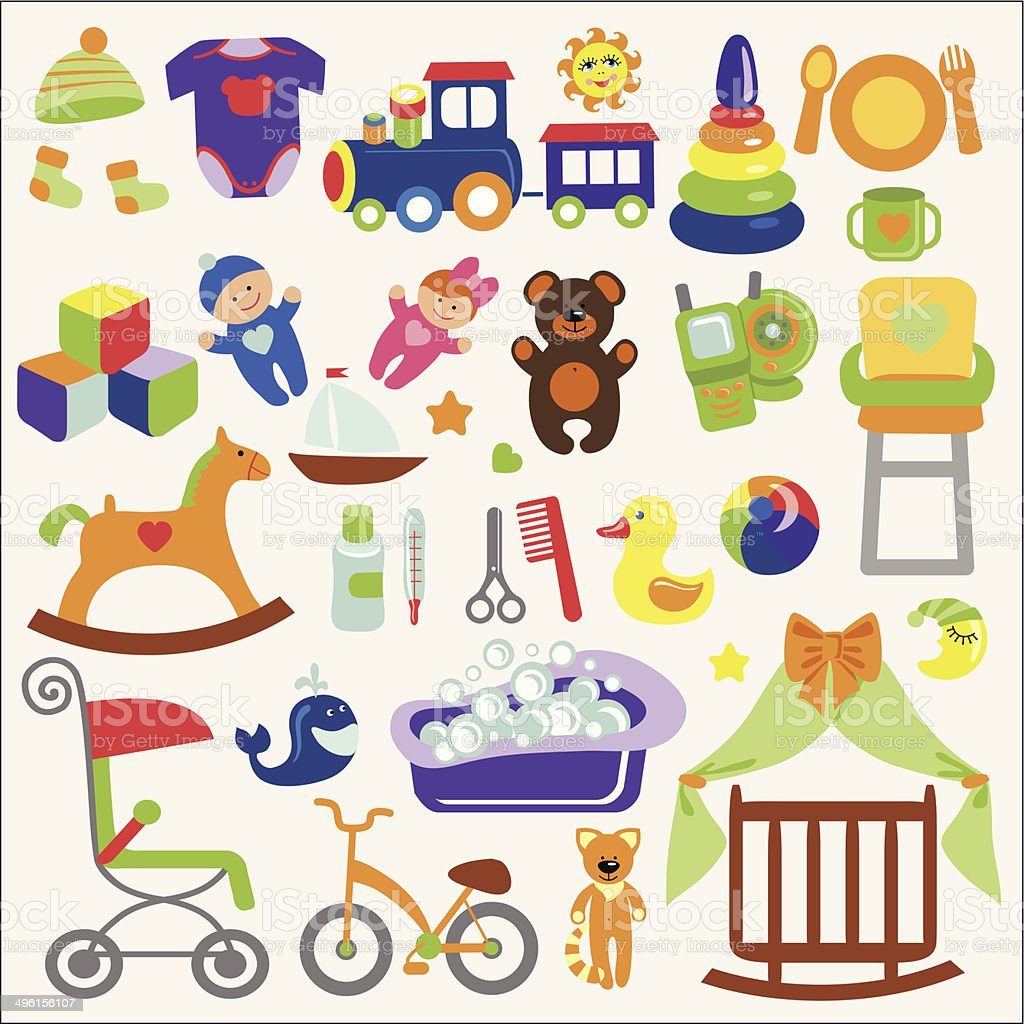 Baby items set collection.Baby shower icons vector art illustration
