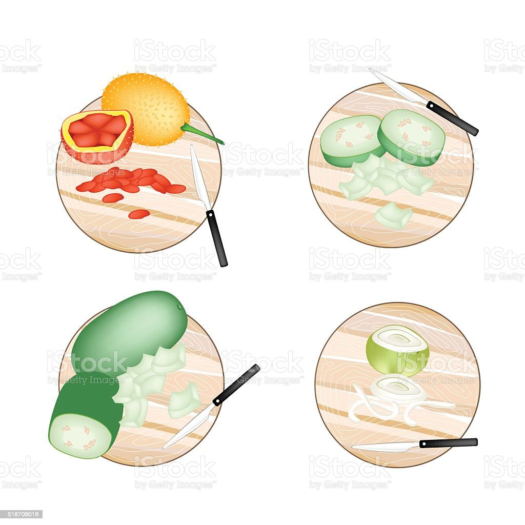 Baby Jackfruit, Wax Gourd and Onions on Cutting Boards vector art illustration