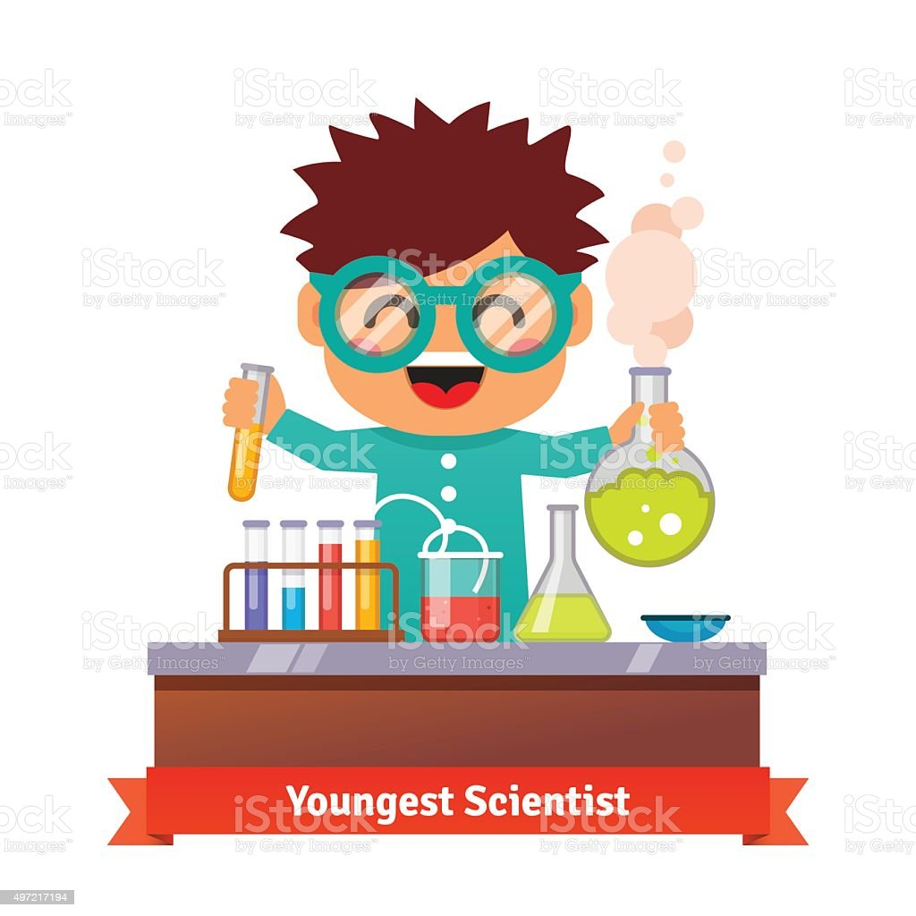 Baby kid doing chemistry experiments vector art illustration