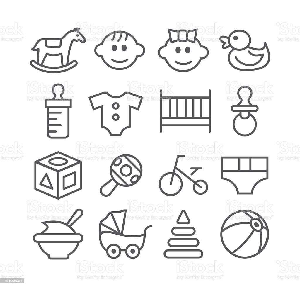 Baby line icons vector art illustration
