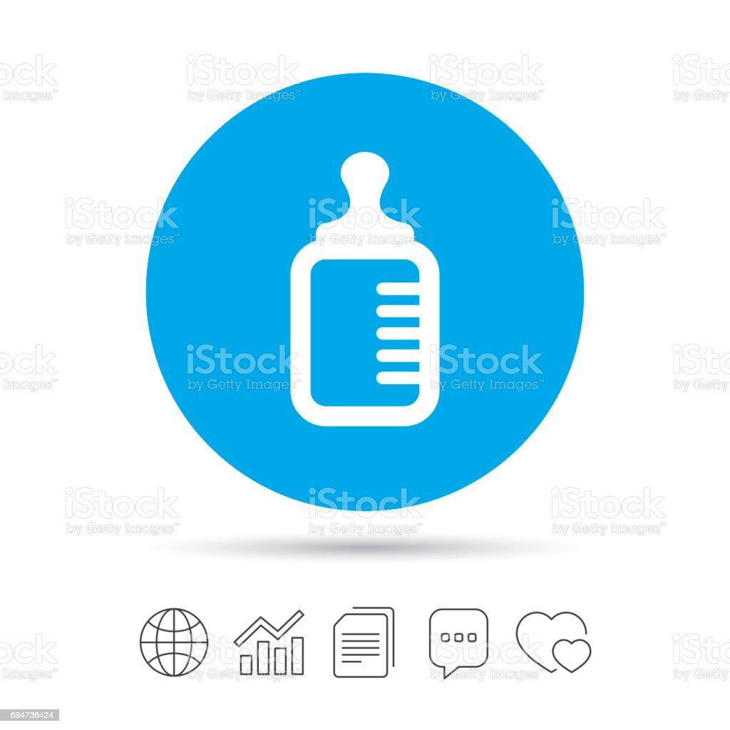 Baby milk bottle icon. Child food symbol. vector art illustration