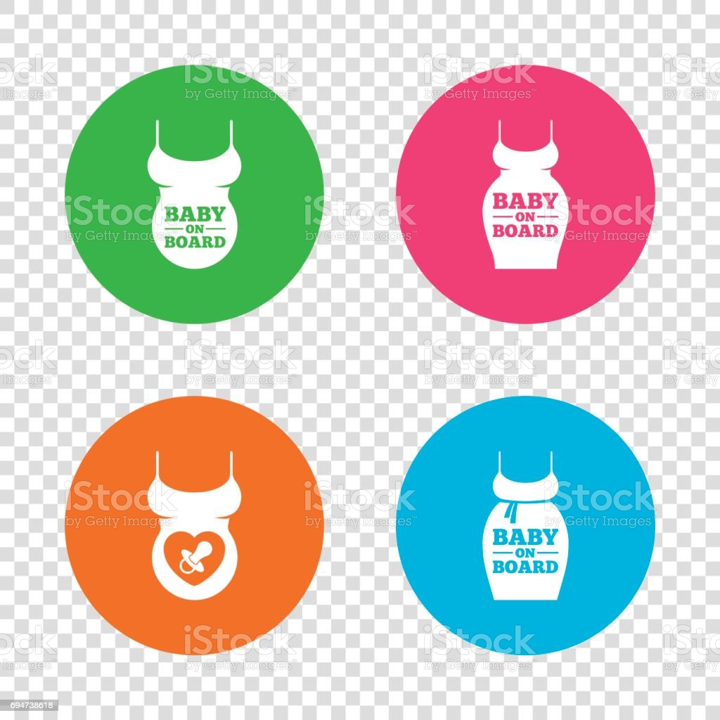 Baby on board icons. Infant caution signs. vector art illustration
