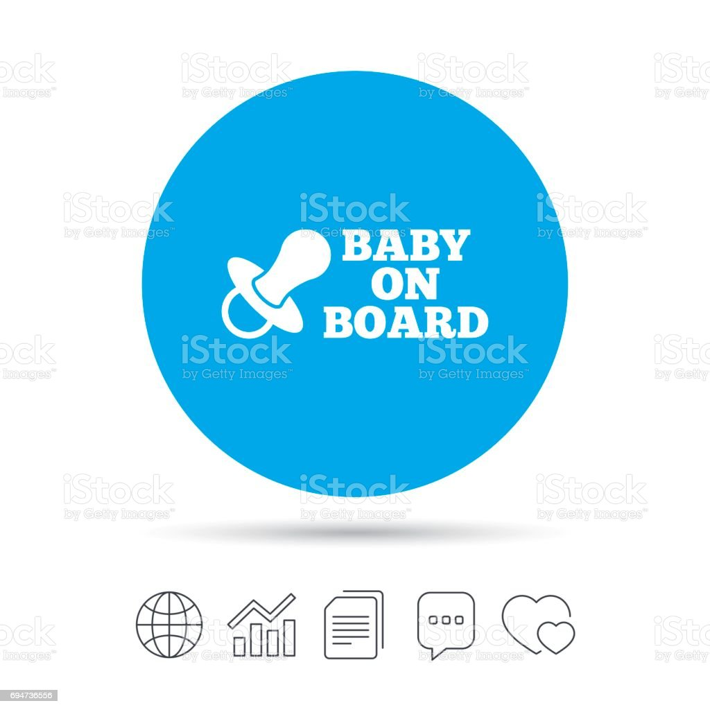 Baby on board sign icon. Infant caution symbol. vector art illustration