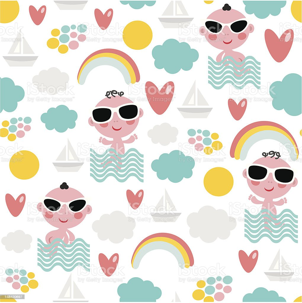 Baby on vacation seamless pattern. royalty-free stock vector art