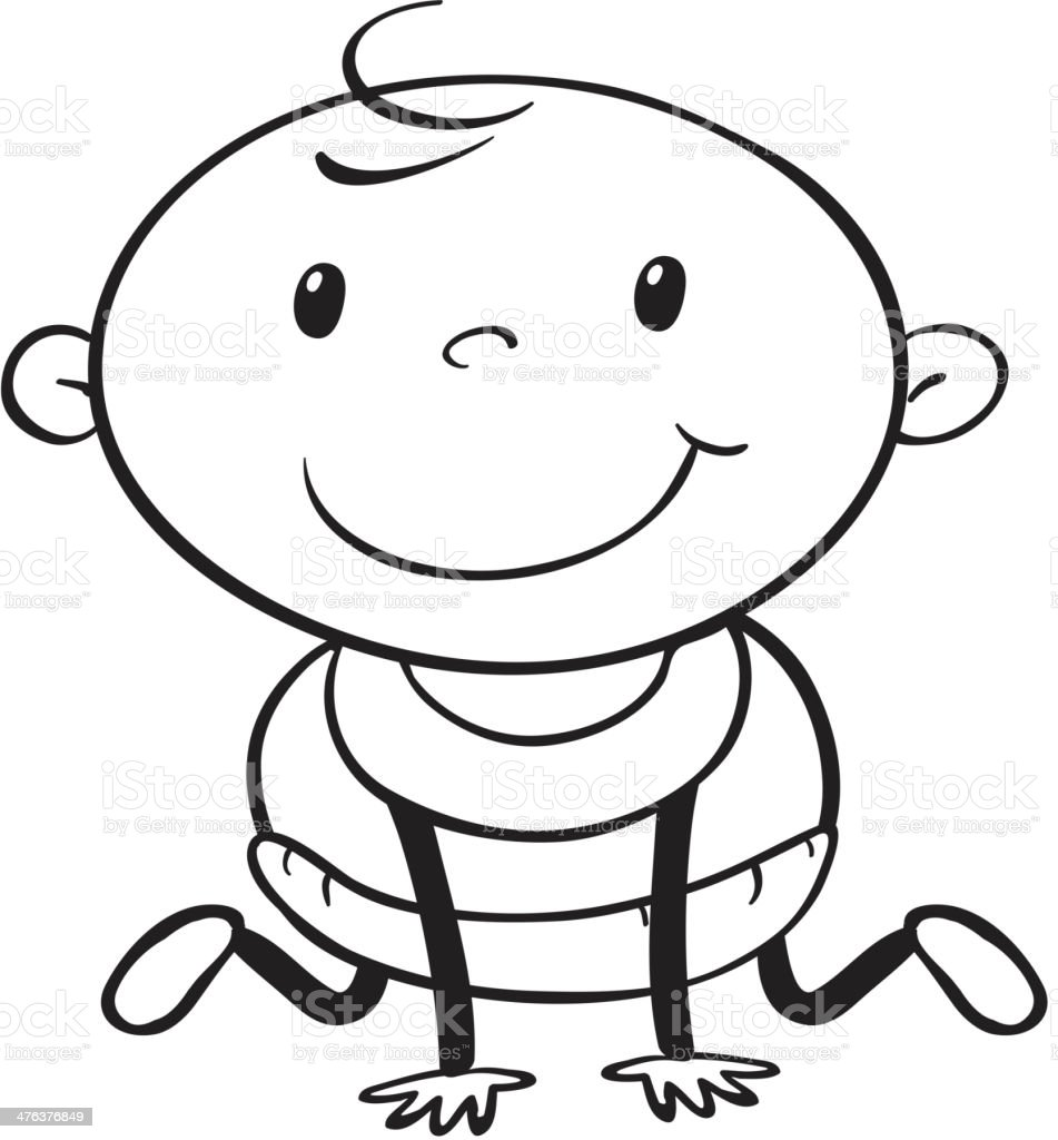 Baby outline royalty-free stock vector art