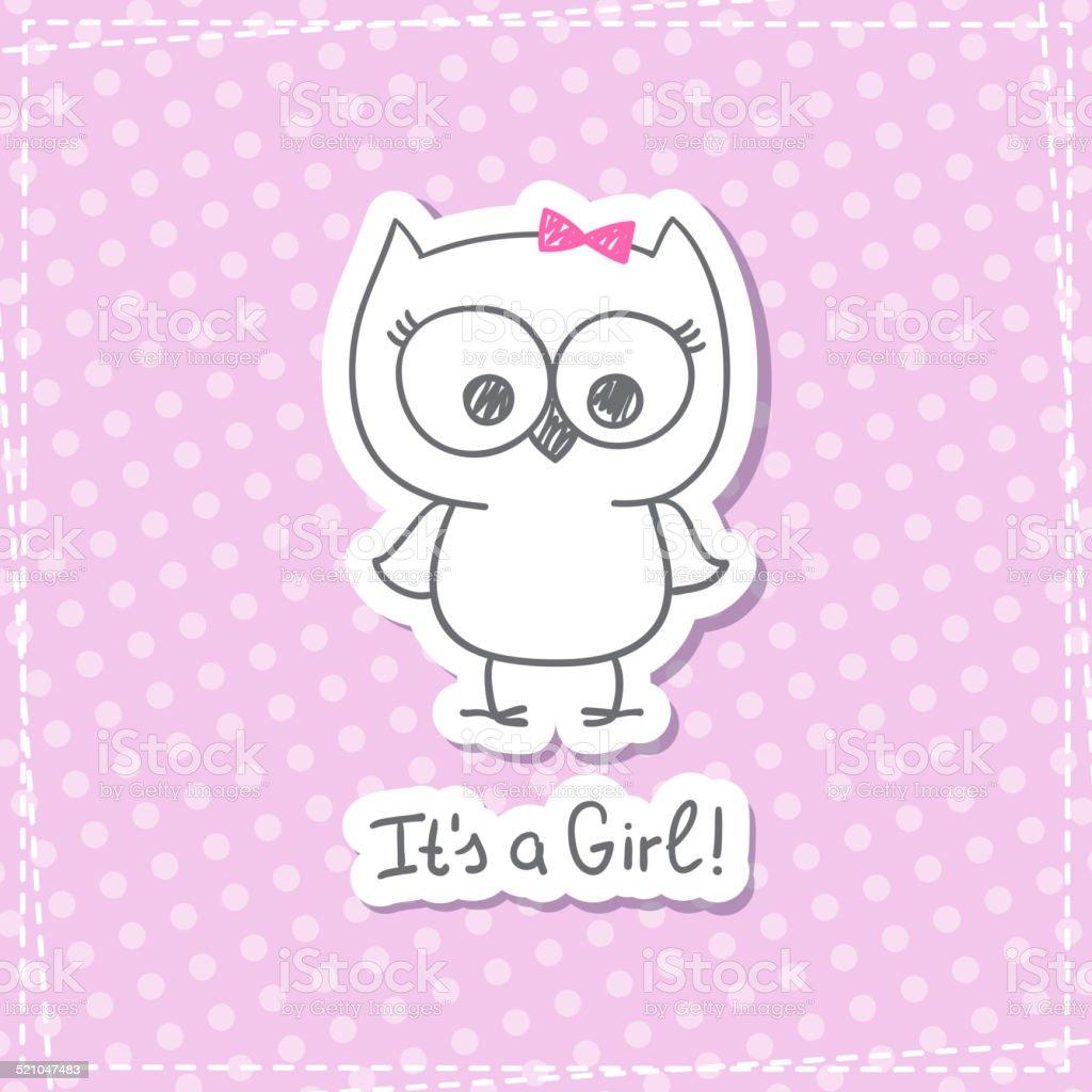 baby owl vector art illustration